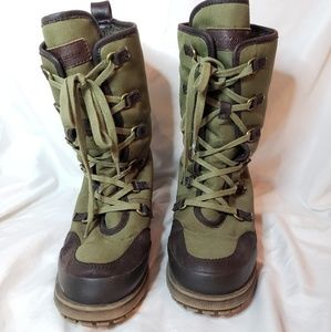Green hiking boots